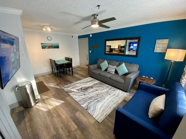 Spacious condo with many upgrades you'll love! We have recently added Disney+, Netflix, Amazon video and Vudu among other great online streaming apps to the three TVs in the apartment, there are plenty plenty of movies and series to watch!
