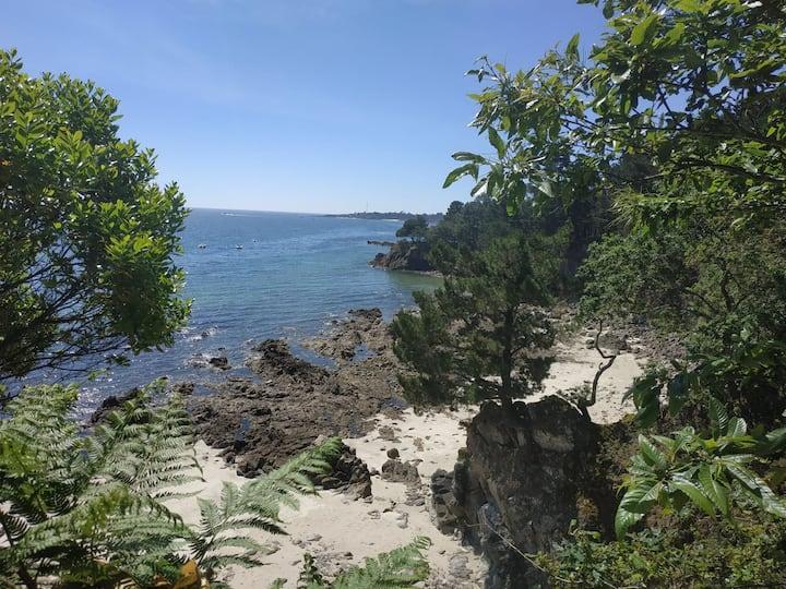 La plage à pied