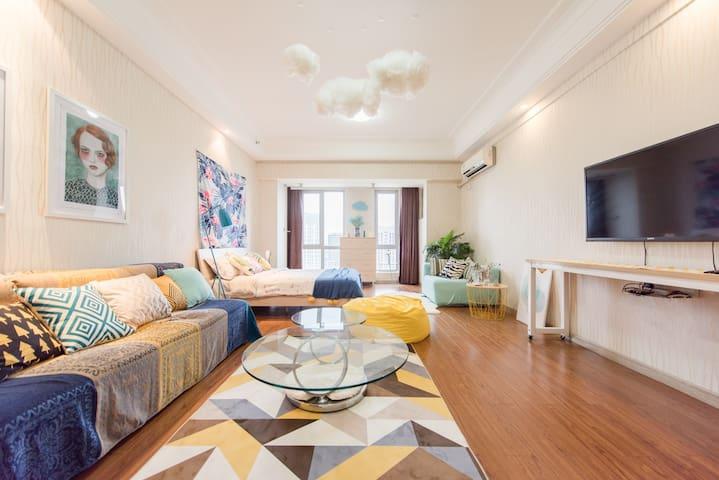 【壹•舍】MUJI懒人沙发、万达广场、近松江大学城温馨高层独立公寓