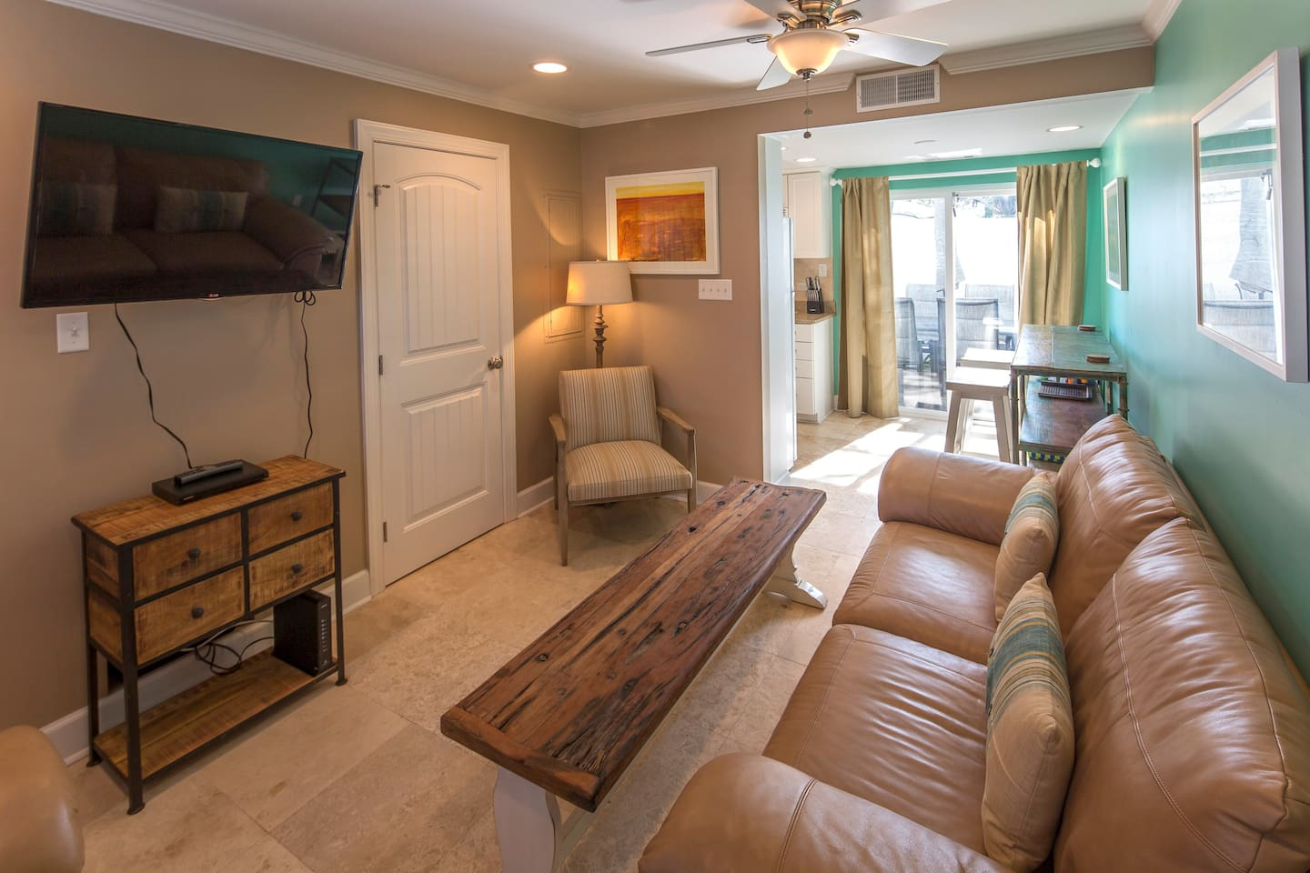 Family Room with Cable TV and powder room