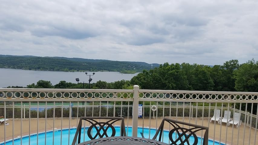 Clubhouse deck overlooking Pool and Table Rock Lake
