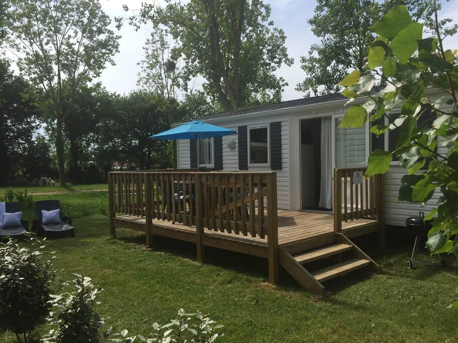 Exterior of our 3 bedroom Summer Chalet. We have 5 3 bedroom chalets, and 3 2 bedroom chalets. Head to our website Votre Vacances to see more, or get in touch to book additional accommodation for family or friends.
