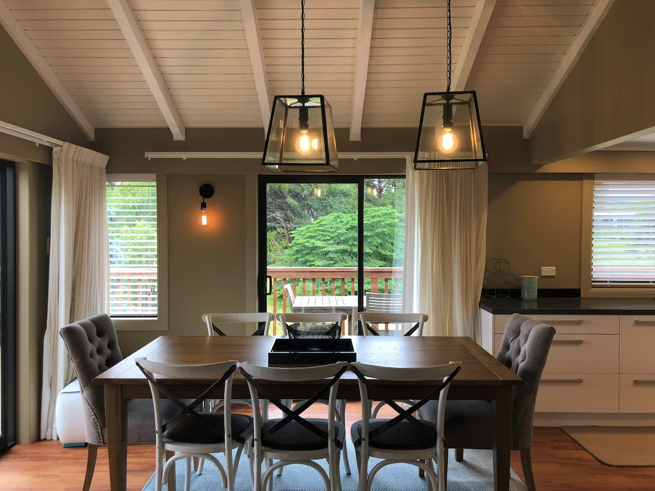 Dining area with lake view