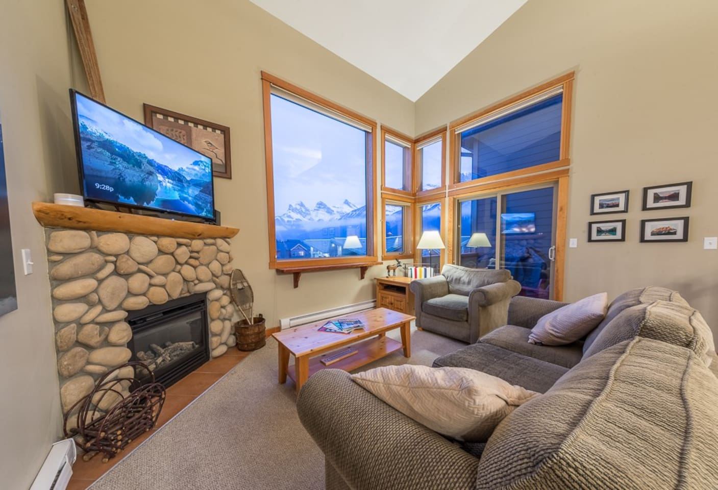 Our condo is a top floor unit in Canmore Crossing. We have large windows that give panoramic views of the mountains to the south including the Three Sisters.  Add us to your wish list! We'd love to host you.