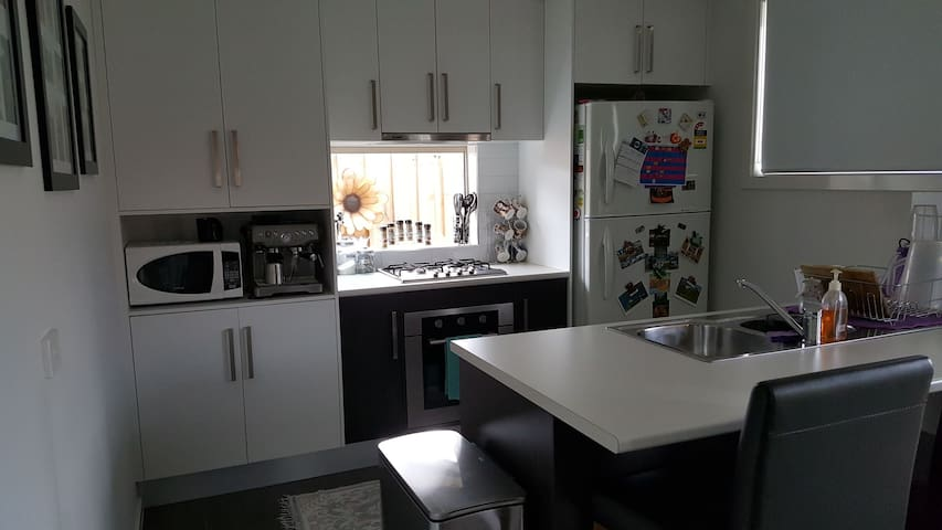 Shared kitchen, also has dishwasher