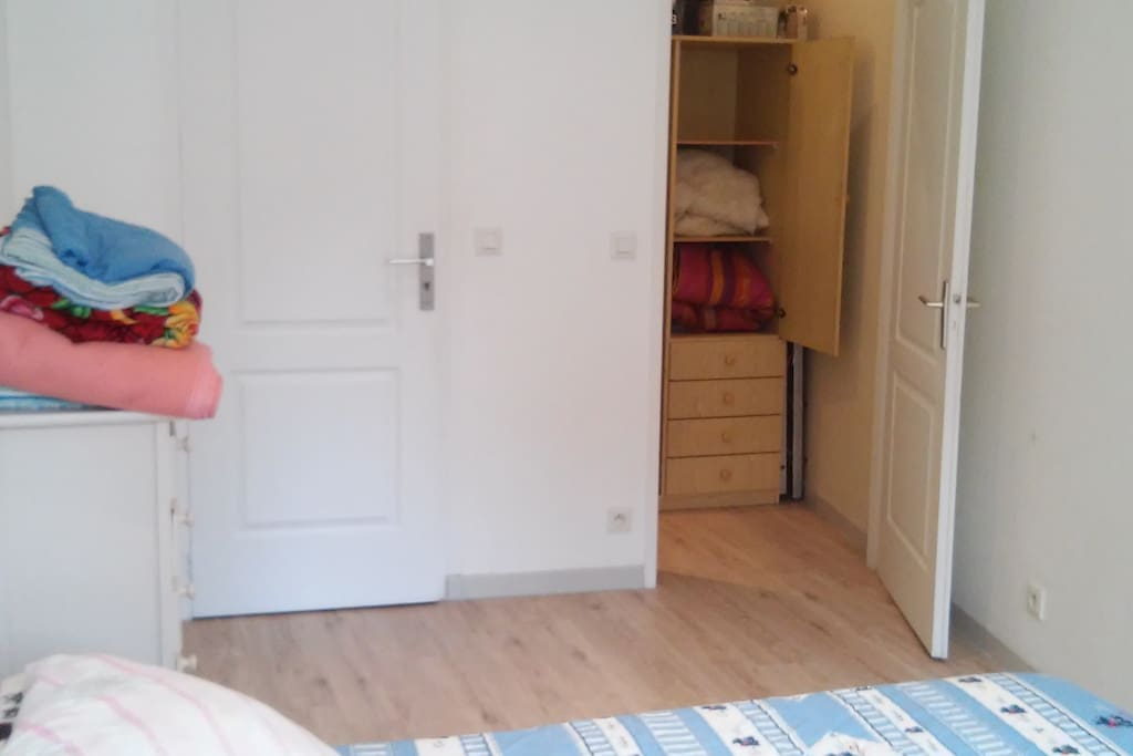 The bedroom has a closet and a private door