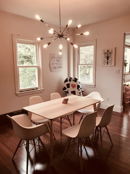 Dining room is modern and fun--and right outside your room ;)