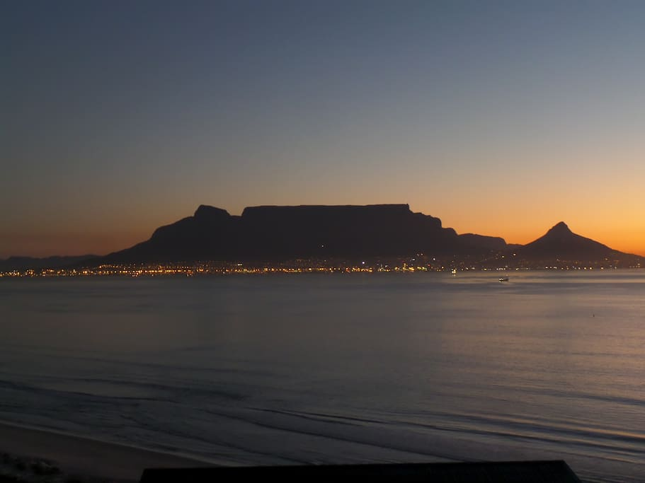 Table Mountain after sunset
