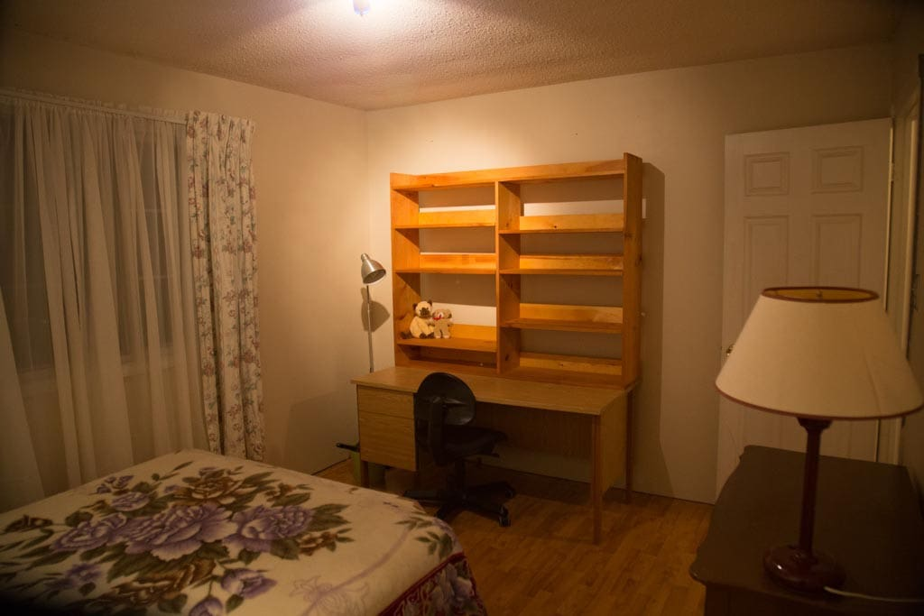 Double bed, dresser, closet, and work desk and office chair with wireless internet