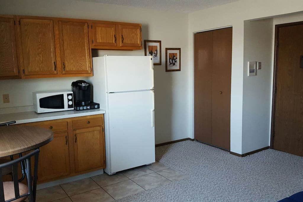 A full size refrigerator, microwave and Keurig let you make a quick meal or brew a cup of coffee.
