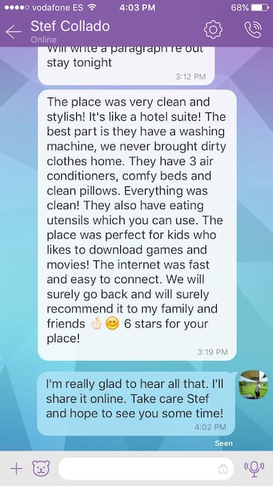 A review from my first guest who was unable to pay online and therefore couldn't leave a review there either.