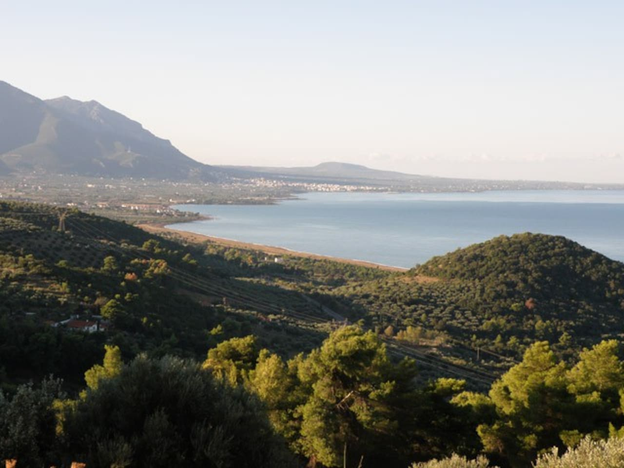 The Vounaki Hill in the foreground - Kyparissia bay and town in the background