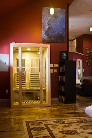 The new infrared sauna unit for 2 people. Heats to 150 degrees. A smooth warm, even heat right in the main room