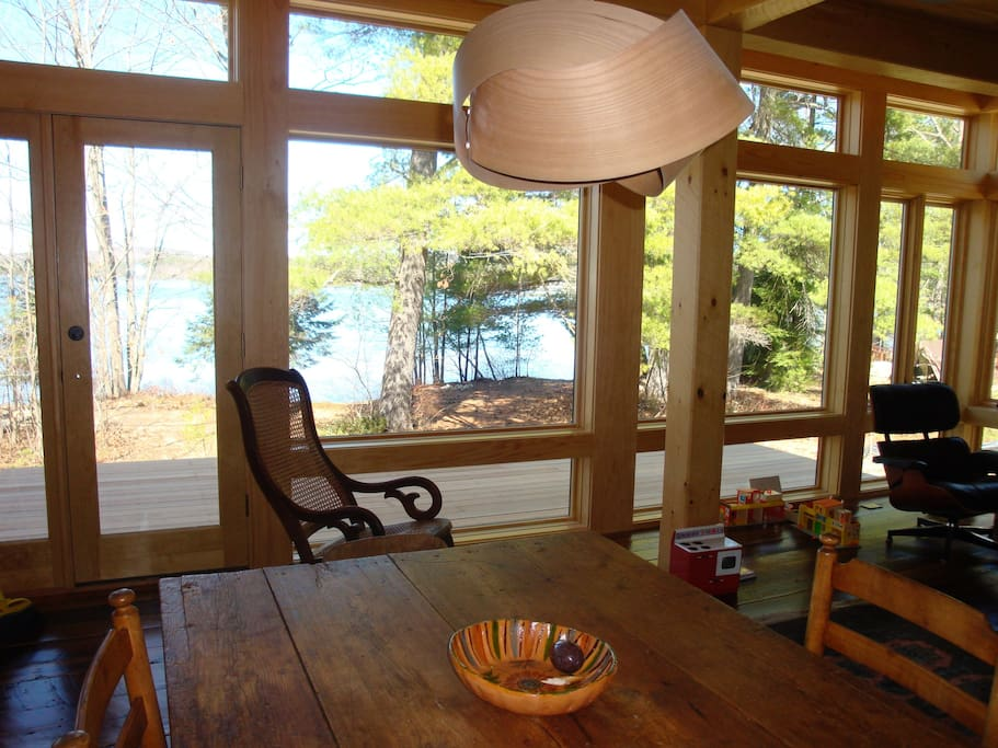 Our dining area with view to deck and lake