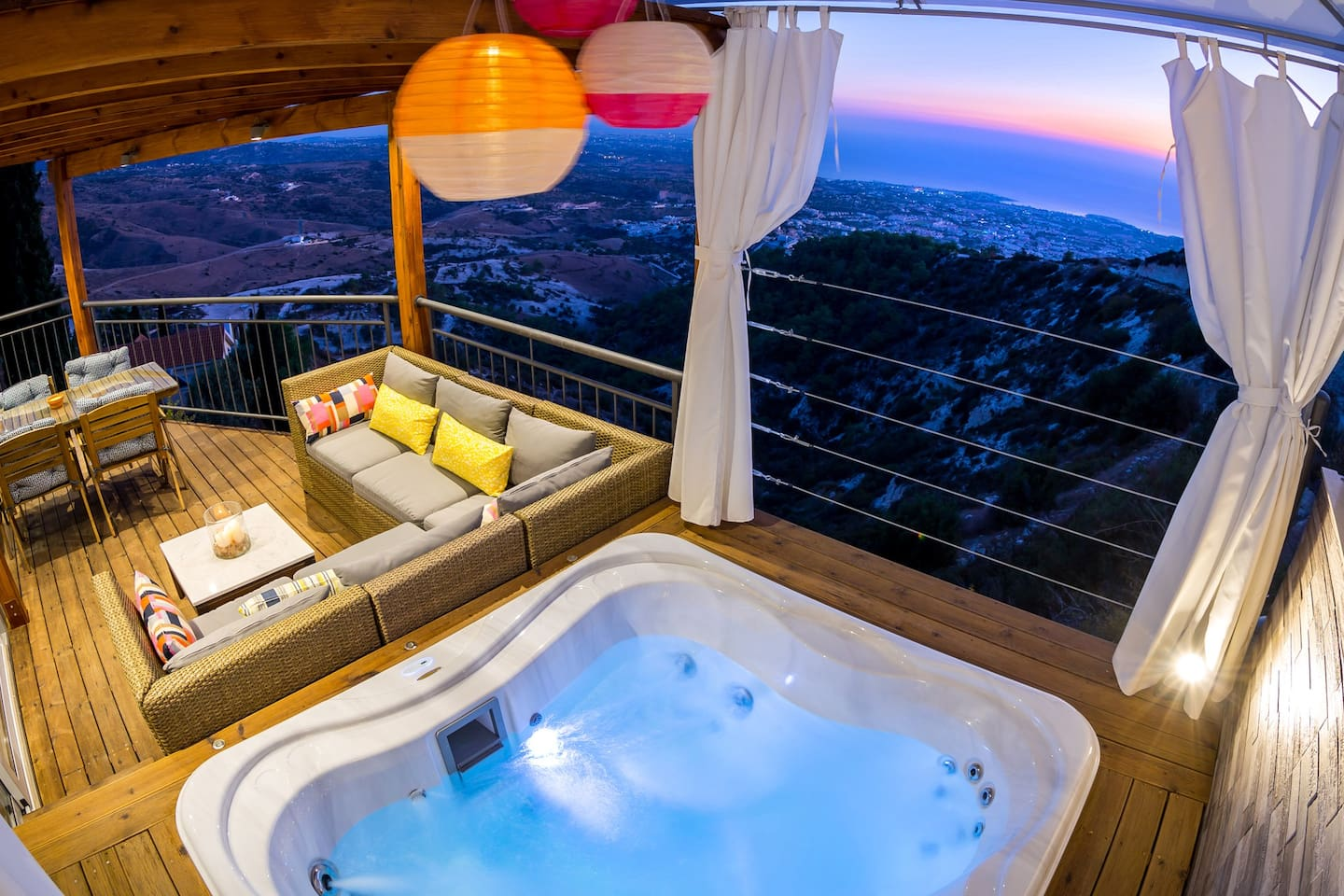 Balcony with luxury Jacuzzi and panoramic view