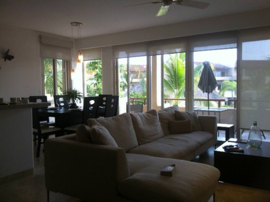 Sliding patio doors open to large balcony