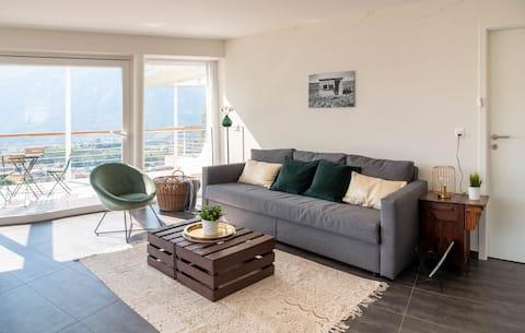 Modern flat : view on the vineyard & Sierre