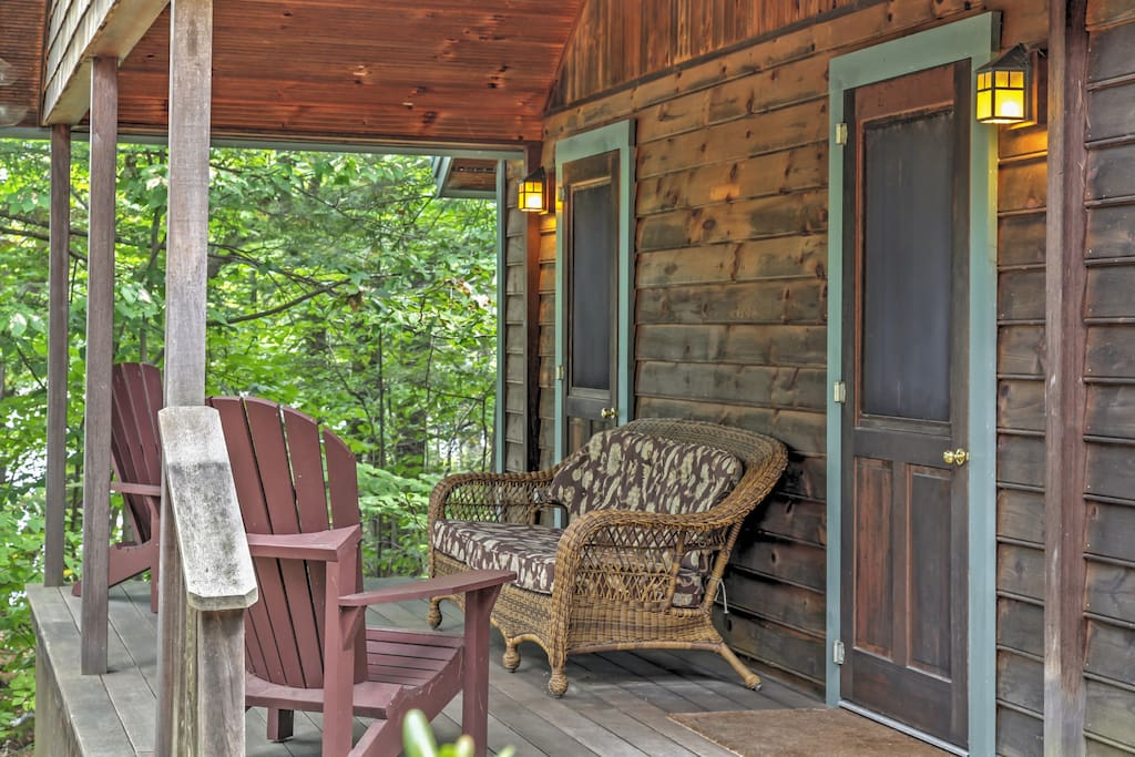 Enjoy the immense forest views from the furnished porch and private firepit!