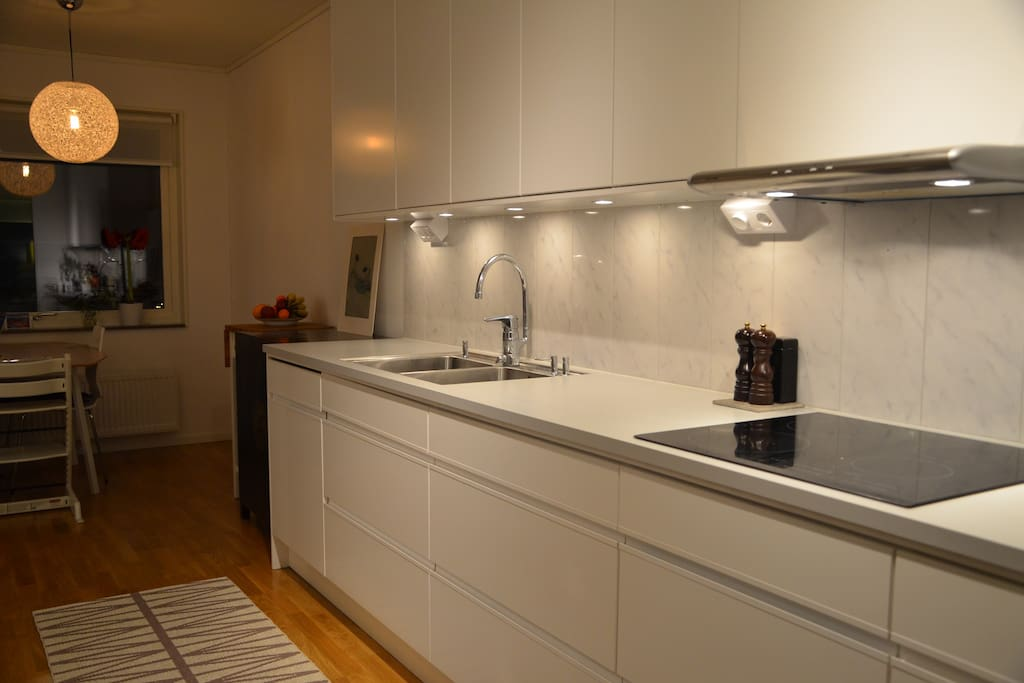 Kitchen with full size fridge and freezer, as well as induction stove, oven and microwave.
