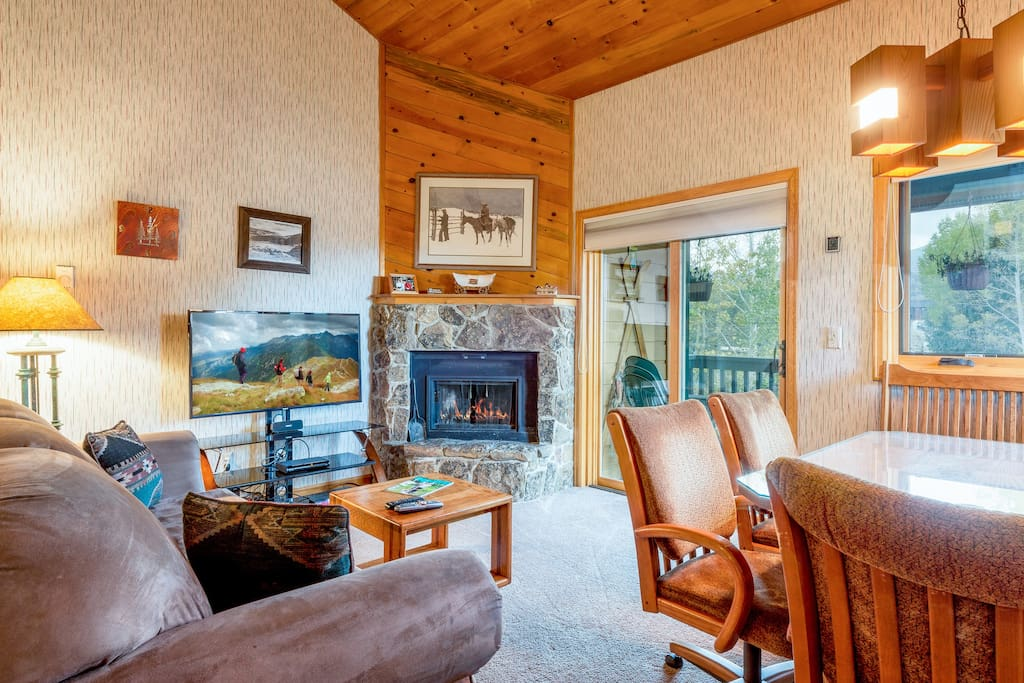 Enjoy the warm ambience of the wood burning fireplace after a great day of alpine adventures.