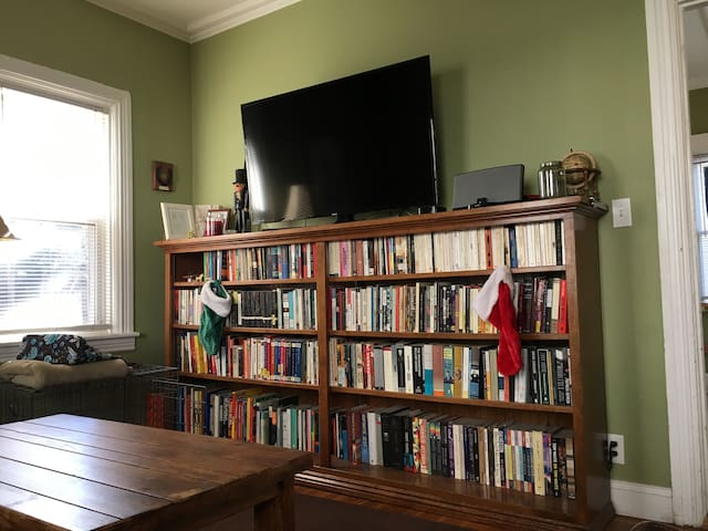 Lots of books and 50-inch HD TV with Apple TV and Bose stereo