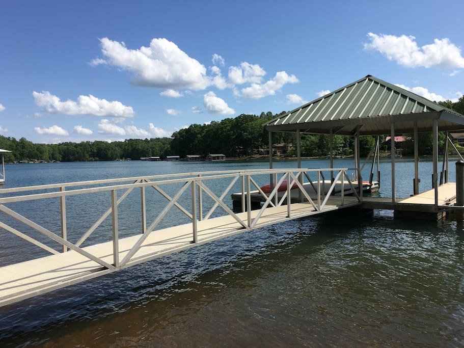 Dock on deep water with swim ladder