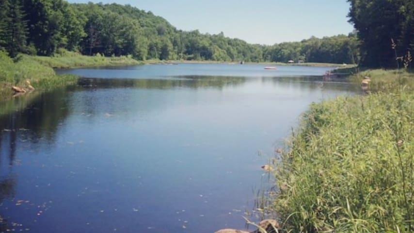 Chalet neuf en bois, lac privé, pédalo, gazebo