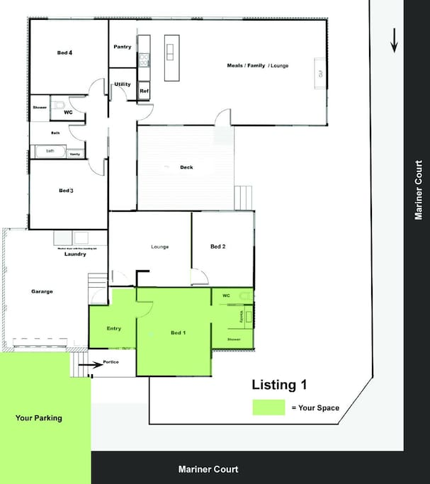 Your space is highlighted in green.