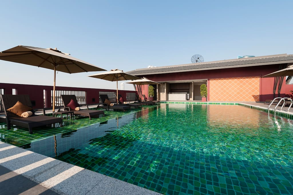 Swimming pool on rooftop.