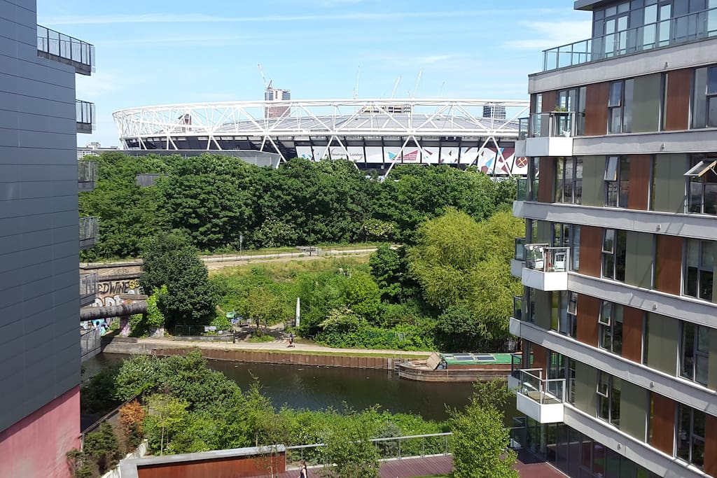 View from the balcony onto the canal and Stadium