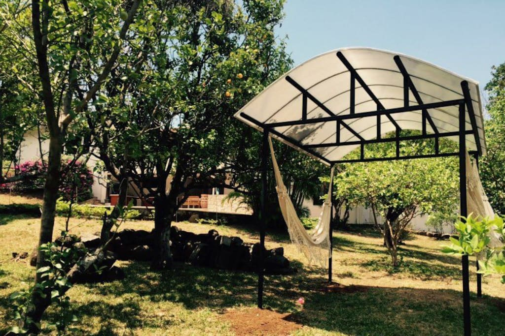 Our garden has a Hammock Gaszebo perfect for meditation, reading or just chilling