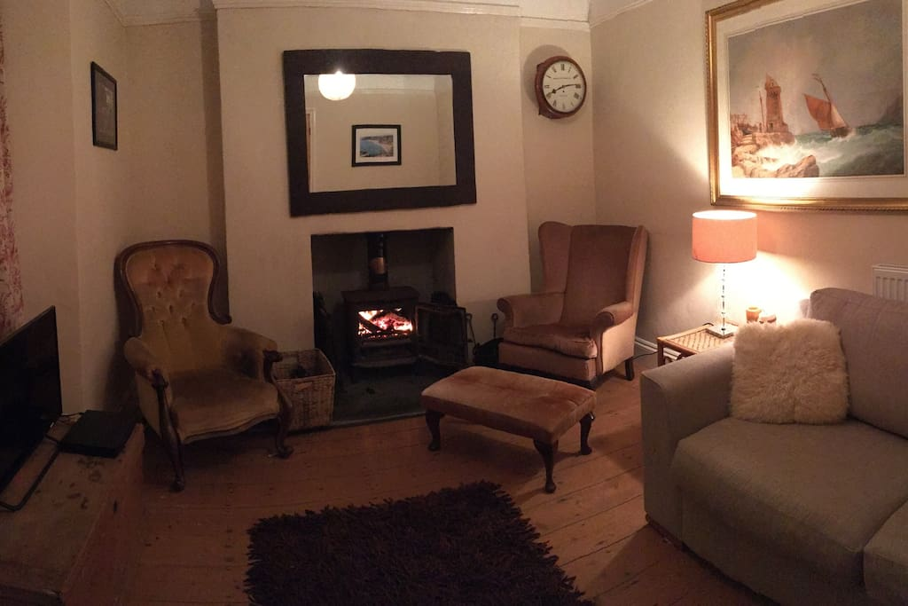 The sitting room with wood burning stove.