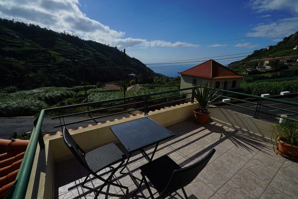 Actual Private BALCONY accessed from guests double bedroom, pic taken right in the middle of november with temperatures fluctuating around 20 degrees Celsius due to its mild climate.