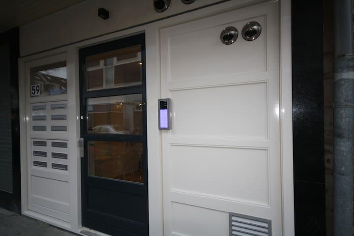 Front door of the building