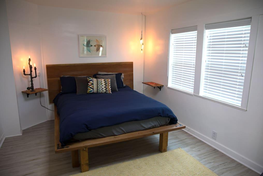 Casper brand mattress, custom bed frame and custom lighting.