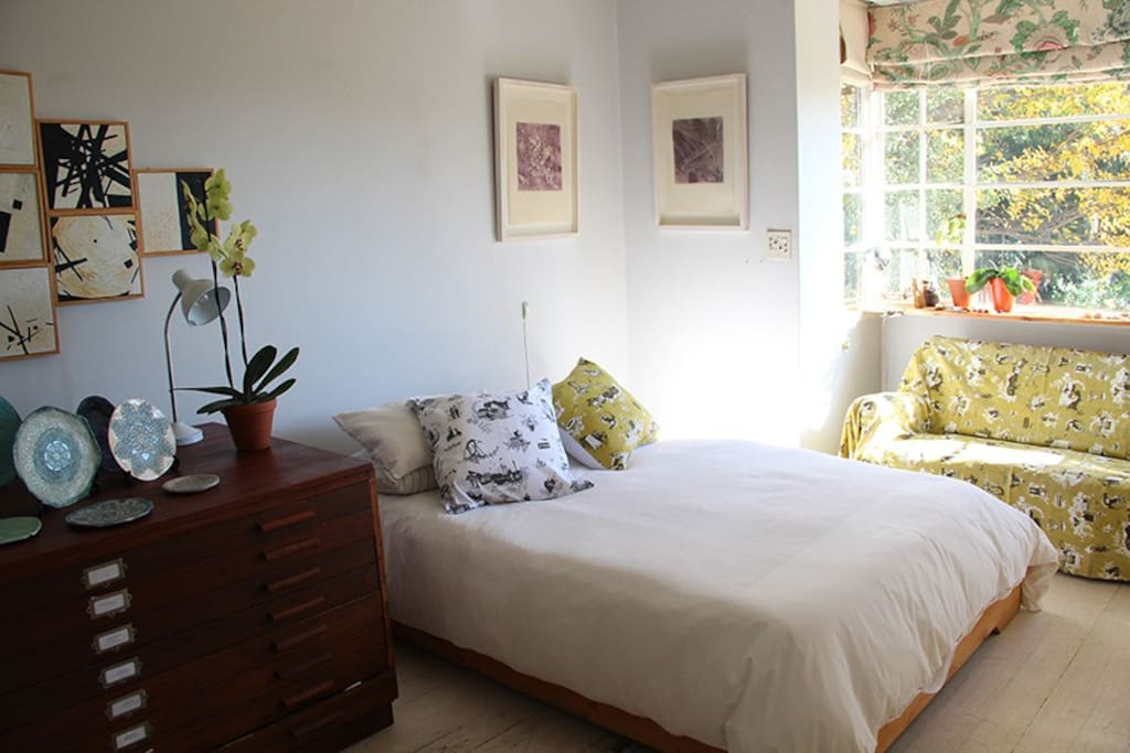 Sunny bedroom 1. Double bed with a firm new mattress and 100% cotton linen.