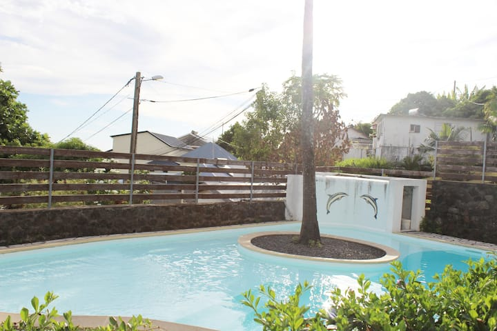 Reunion F3 / garden / pool / beautiful sea view