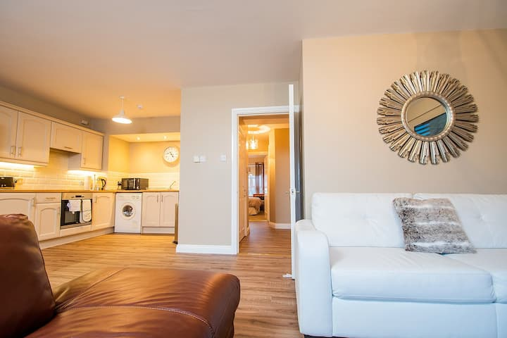 Elegant two bedroom apartment with beach views.