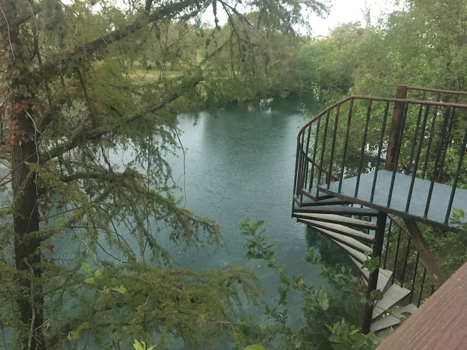 Shared condo complex access to the river.  Stairs leading to river.
