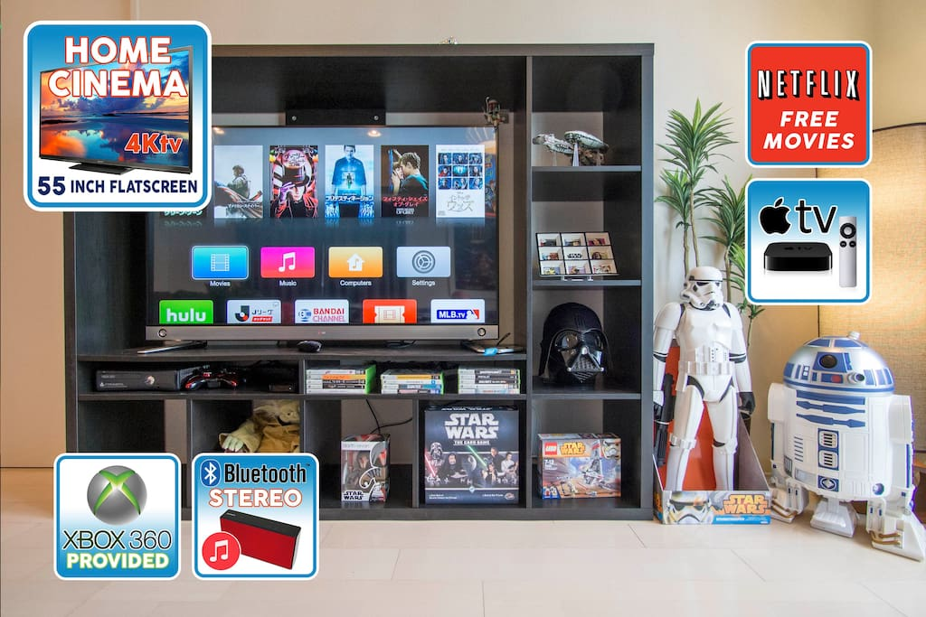 It's a trap!  You may never leave the apartment when you see this entertainment system - 55inch 4K TV, apple TV, xbox & games, Star Wars card game, Darth Vader voice-change helmet, lego and more!