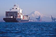 Gigantic container ships in Puget Sound. Stunning Mount Rainier