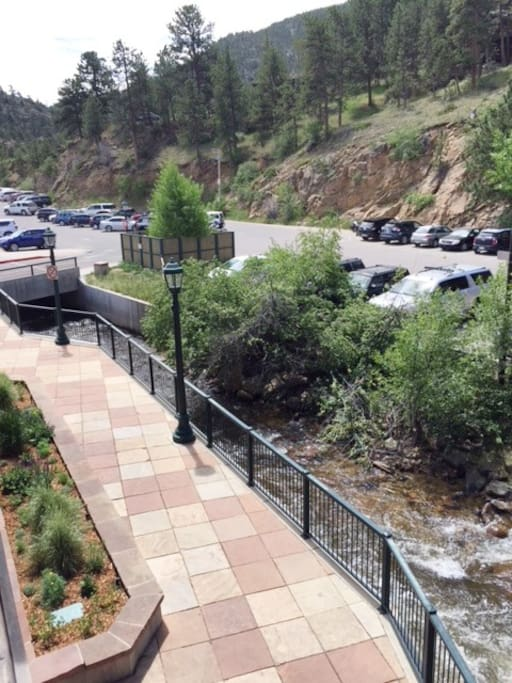 Enjoy the view of the riverwalk and there is public parking available right behind the loft.