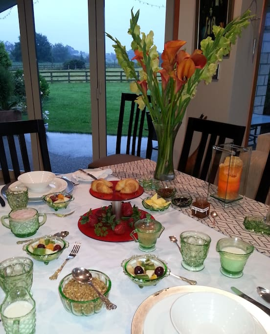 Breakfast is served with the freshest of local produce, our own eggs, fresh bread  and organic produce when available