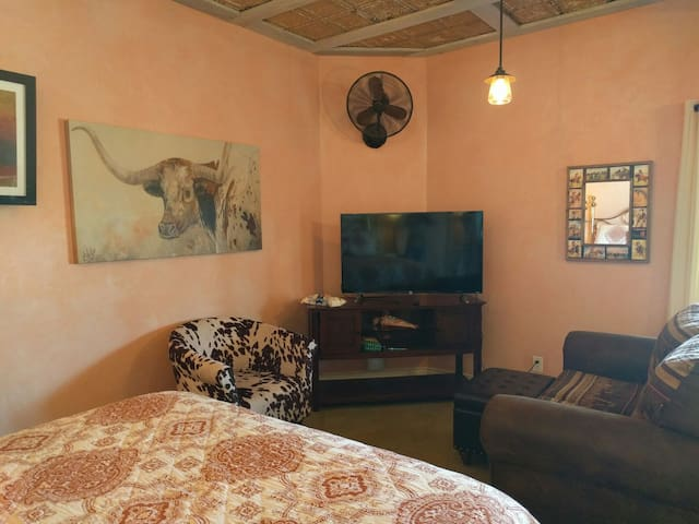 Gee, I hope this room has a Texas feel to it. Thats a ROKU smart TV.