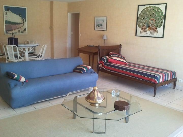 Grand appartement calme avec grande terrasse et superbe vue sur golf et montagne