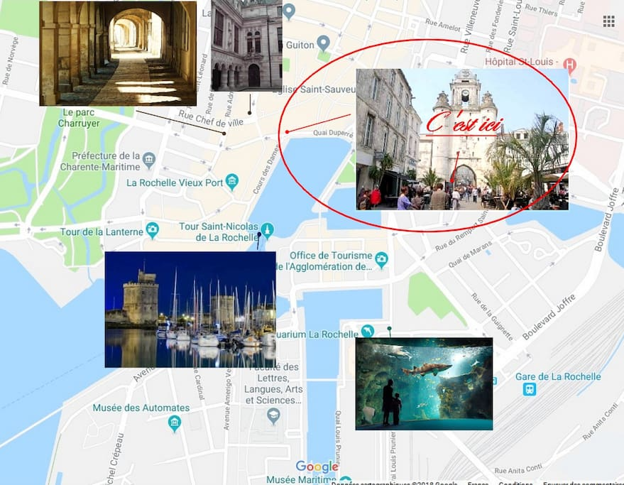 Map La Grosse Horloge, les arcades, le port, l'aquarium de La Rochelle.
