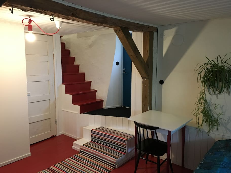 You can share the kitchen upstairs with us.