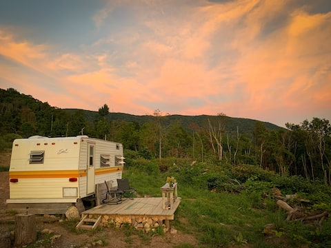 Mt top off-grid vintage Shasta camper