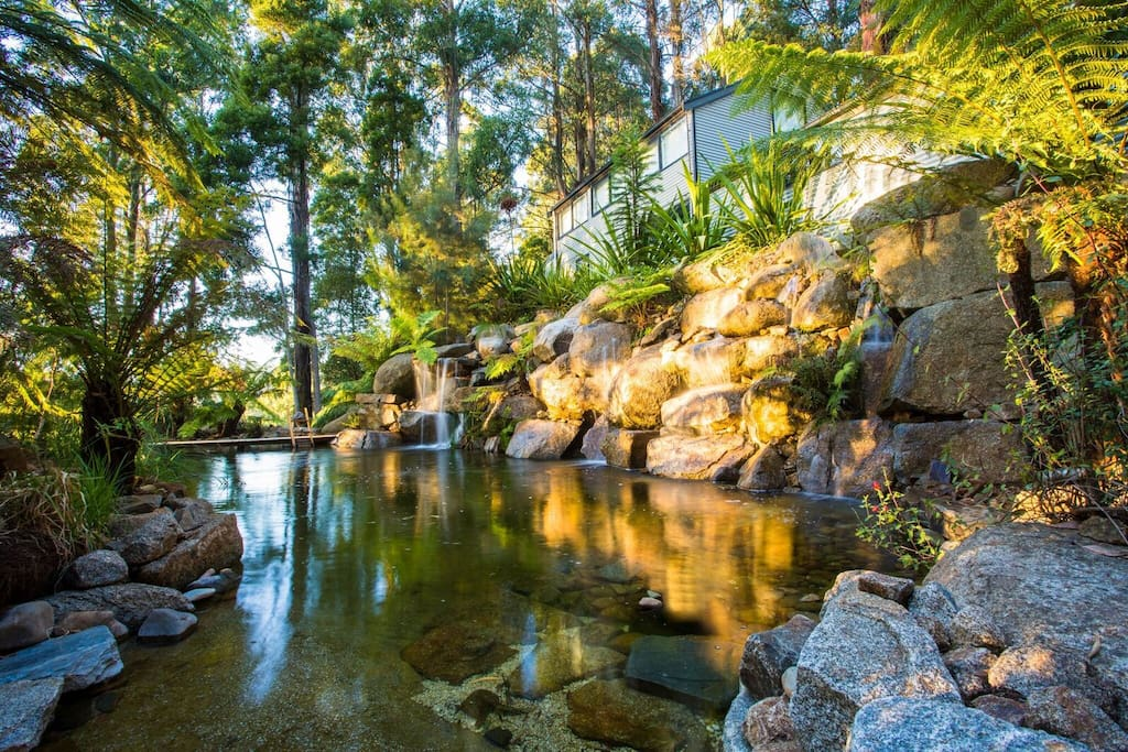 Natural swimming pool with waterfalls