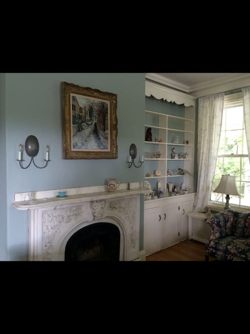 historic charm, double marble fireplaces